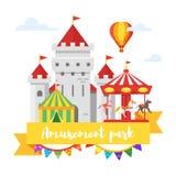 Parka rozrywki lub funfair projekt pojedynczy białe tło royalty ilustracja