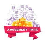 Parka rozrywki sztandar z różnymi carousels, huśtawkami i ferri, Zdjęcia Royalty Free