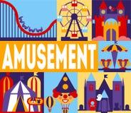 Parka Rozrywkiego sztandar, karnawał, Cyrkowy Funfair z Carousels, kolejka górska, horror Grodowa Wektorowa ilustracja royalty ilustracja