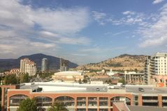 Parkade and high rise buildings in downtown Kelowna BC Royalty Free Stock Image