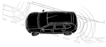 Parkauto-Vektorlinie technische Art des abgehobenen Betrages lizenzfreies stockbild