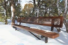 Parkbänk i vinterstorm Arkivbild