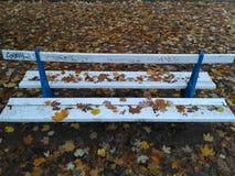Parkbank im Herbst Lizenzfreie Stockfotos
