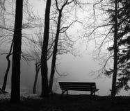 Parkbank im Nebel Stockfotografie