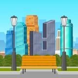 Parkbank met grote stadshorizon op achtergrond vector illustratie