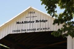 PARKE COUTNY INDIANA, McAllister Zakrywający most na Czerwcu 6, -, 2017 obrazy royalty free