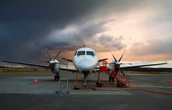Parked aircraft. Stock Photo