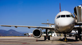 Parked aircraft on lijiang airport Stock Photos