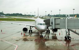 Parked aircraft on Singapore airport Royalty Free Stock Photography