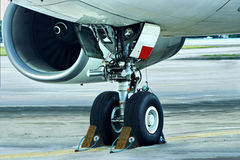 Parked airplane. Controled busines concept. Royalty Free Stock Images