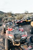 Parked ATVs in Desert stock photography