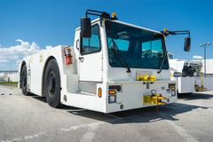 A parked aviation support vehicle on a tarmac royalty free stock photos