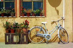 Parked bicycle Royalty Free Stock Photos