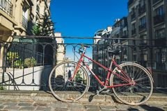 Parked bicycle in Paris Montmartre neighborhood royalty free stock photos