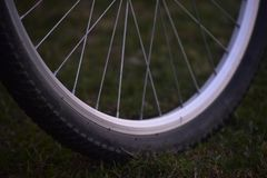 Bicycles tyre parts with sporks royalty free stock photos
