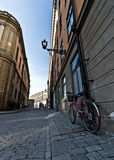 Parked Bicycle in Stortorget, Gamla Stan, Stockholm Royalty Free Stock Photos
