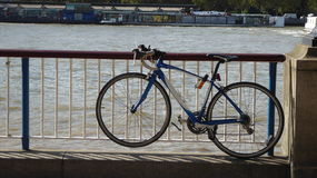Parked Bicycle on the Themes River Royalty Free Stock Photography