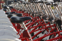 Parked bicycles Royalty Free Stock Photos