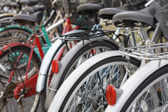 Parked Bicycles Royalty Free Stock Images