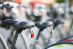 Parked bicycles. Abstract background or texture Royalty Free Stock Photo