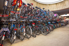 Parked bicycles at central station Royalty Free Stock Image