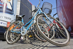 Parked bicycles in the city center, Beijing, China Stock Photo