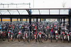 Parked bicycles. Group of many parked bicycles in Maastricht, The Netherlands Royalty Free Stock Photography