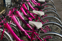 Parked bicycles for public use Royalty Free Stock Images