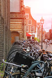 Parked bicycles on the street in the historic center of Haarlem Stock Image