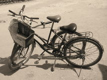 Parked bikes. Two bikes parked at angkor wat Stock Photography