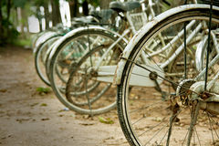 Parked bikes Royalty Free Stock Photos