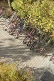 Parked Bikes Stock Photo