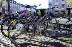 Parked Bikes - Nordic European City Scene Stock Photography