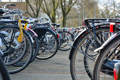 Parked  bikes Royalty Free Stock Photography