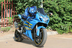 Parked blue 1000cc motorbike at Yearly Mass Ride Royalty Free Stock Photos