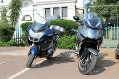 Parked BMW motorbikes at Yearly Mass Ride Stock Image