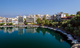 Parked boats in harbour of Agios Nikolaos town Royalty Free Stock Photography