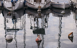 Parked boats in the small dock. Royalty Free Stock Photo