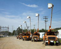 Parked Bucket Trucks Stock Photos