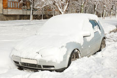 Parked car. After the snow storm stock image