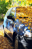 Parked car covered with yellow leaves. Parked blue car with front window covered with fallen yellow leaves Stock Images