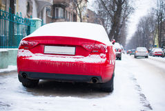 Parked car near road Stock Image
