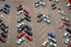 Parked cars. Cars parked in parking lot stock photography