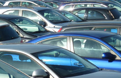Parked cars. Telephoto view of cars parked in Leeds parking lot Royalty Free Stock Photos