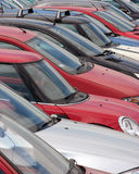 Parked cars. Telephoto view of cars in parking lot Royalty Free Stock Photography