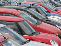 Parked cars. View of tightly packed cars in parking lot Royalty Free Stock Image