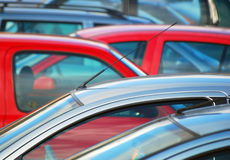 Parked cars. Telephoto view of parked cars in car park Royalty Free Stock Photo