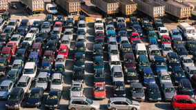 Parked Cars. At the busy Port of Savona, Italy royalty free stock photo