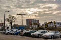 Parked cars and construction Royalty Free Stock Photo