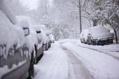 Parked cars covered with snow - snow storm Royalty Free Stock Images